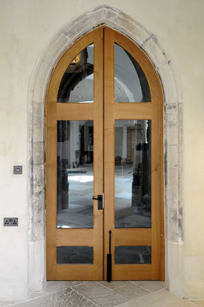 Glazed Oak Gothic Church Doors And Frame