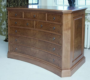 Arts & Crafts inspired Burr Walnut chest of drawers